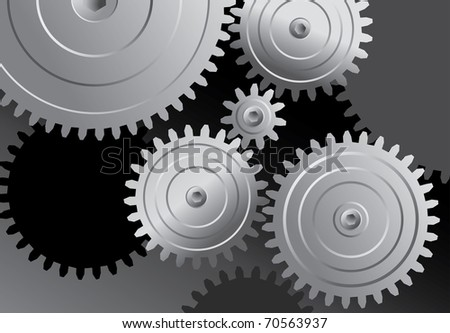 vector abstract background with metal gears - stock vector