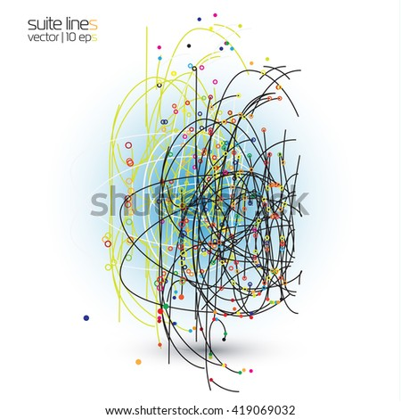 Vector abstract background with point and curve constructed the sphere wireframe. The composition of the thin lines which create the effect of chaos. - stock vector