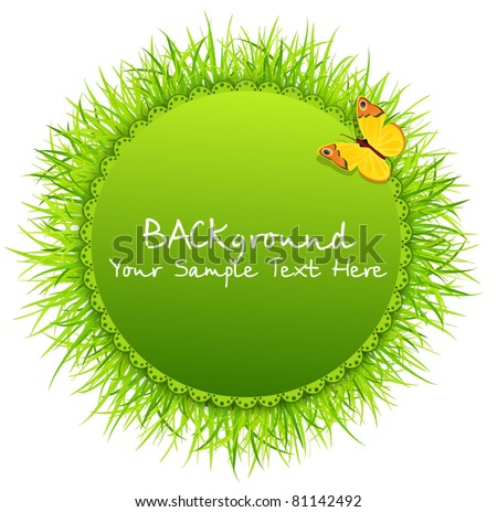 Vector abstract background with round greeting card with grass and a butterfly - stock vector
