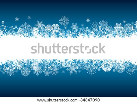 vector abstract background with snowflakes in blue and white colors - stock vector