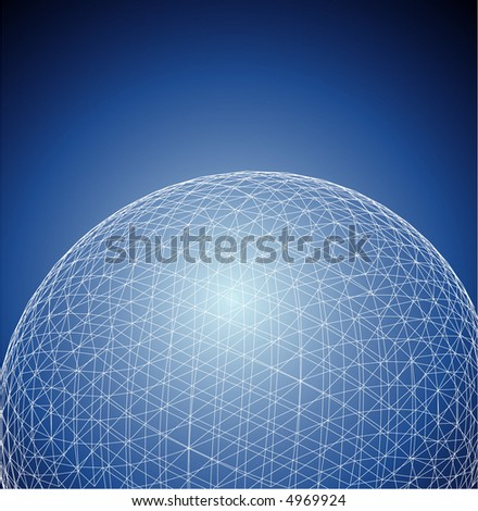 vector abstract background with sphere in space - stock vector