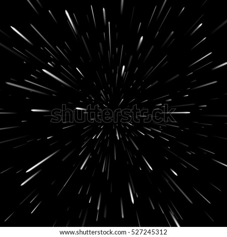 Vector abstract background with Star Warp or Hyperspace. Light of moving stars.