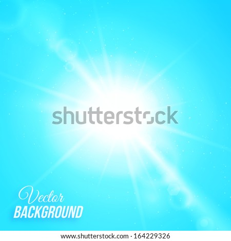 Vector abstract background with sun and lens flares - stock vector
