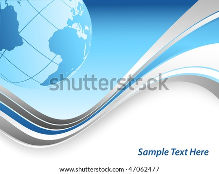 vector abstract background with  wavy lines and globe