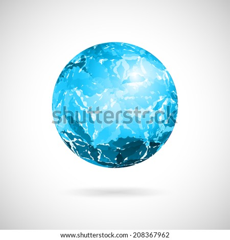 Vector abstract ball of blue spots painted with watercolor - stock vector