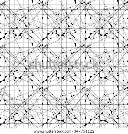 Vector abstract black and white seamless pattern from triangles.  - stock vector