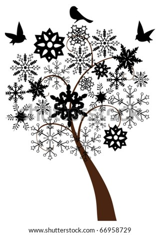 vector abstract black snow tree with snowflakes and birds - stock vector