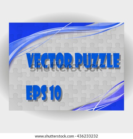 Vector Abstract blue background made from white puzzle pieces and place for your content. - stock vector
