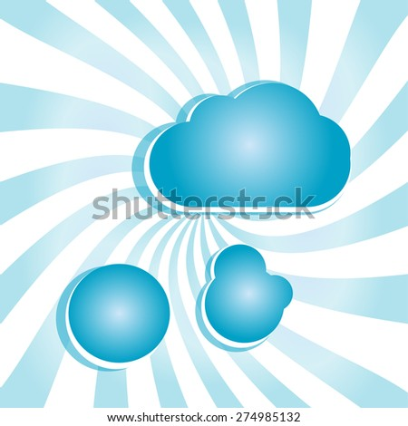 vector abstract blue background with sun rays and clouds