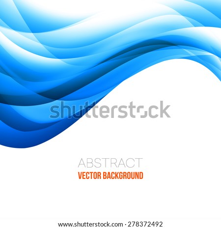 Vector Abstract blue curved lines background. Template brochure design - stock vector
