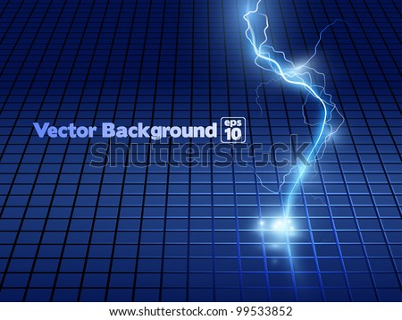Vector abstract blue lightning flash background. - stock vector