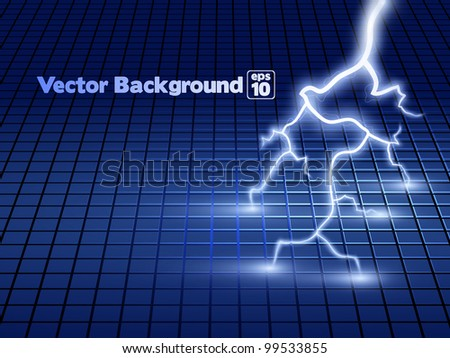 Vector abstract blue lightning flash background.