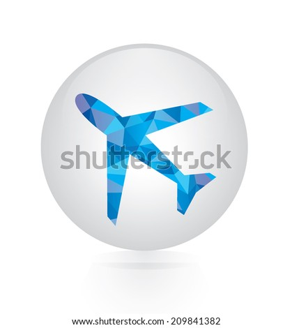 Vector - abstract blue plane icon. circular button - stock vector