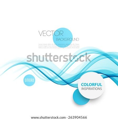 Vector Abstract blue smoke  curved lines background. Brochure or website design. Water wave - stock vector