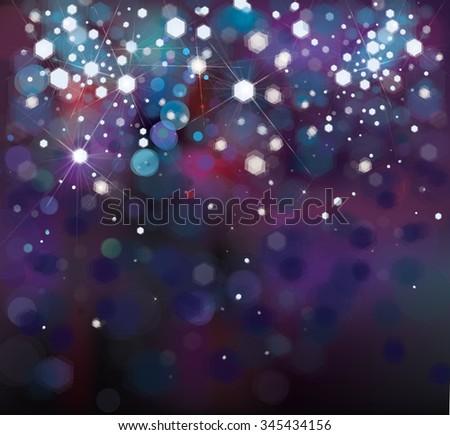Vector abstract blue sparkle, bokeh background. - stock vector