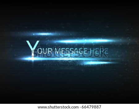 Vector abstract blue text effect with blurry dim particles and bright lights on black background with slight texture. - stock vector