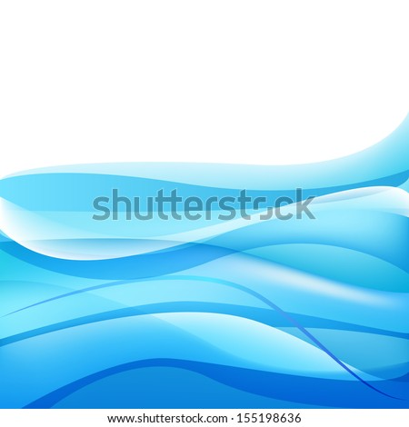 vector abstract blue waves water background - stock vector