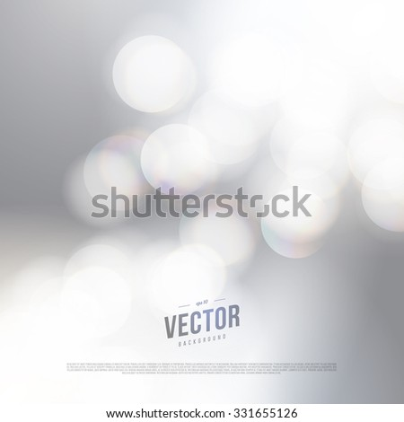 Vector abstract bokeh silver background. Festive defocused lights. - stock vector
