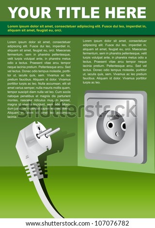Vector abstract brochure background concept with electrical plug - stock vector