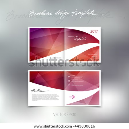 Vector abstract brochure design template. Two-page spreads. - stock vector