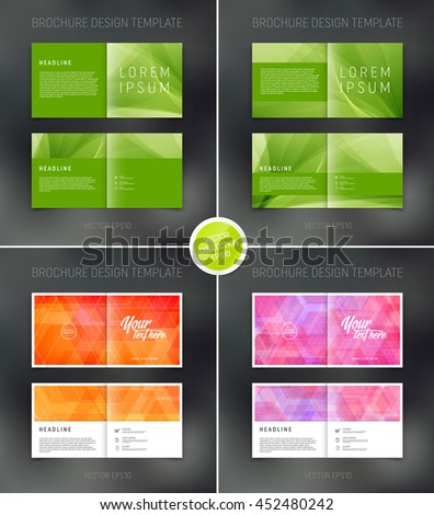 Vector abstract brochure design templates collection. Two-page spreads.  - stock vector