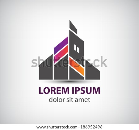 vector abstract building icon, logo isolated - stock vector