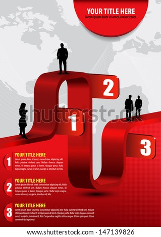 Vector abstract business background with graph, people, continents and place for text - stock vector