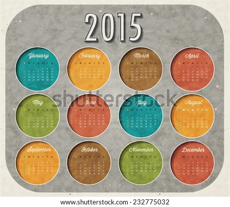 Vector abstract calendar 2015 Retro vintage style colorful calendar design. Template for 2015 calendar - stock vector