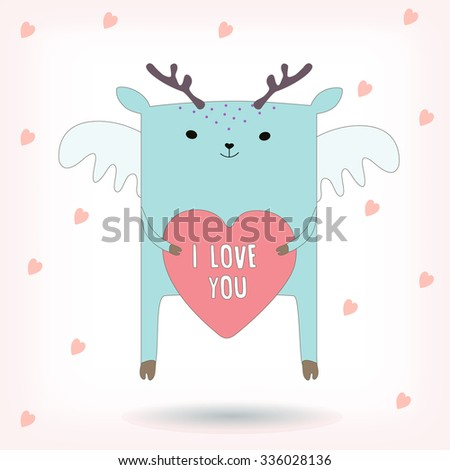 """Vector abstract card, poster or banner with cute Angel Deer and text """"I love you"""" on the heart. Vector color illustration - stock vector"""