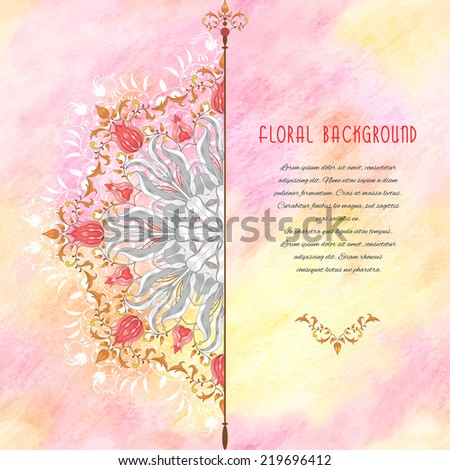 Vector abstract card with floral round pattern. Tulip flower element and decor with leaves. Elegant decor with curls. Delicate colored pencil background. Hand drawing. Place for your text.  - stock vector