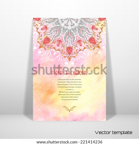 Vector abstract card with floral round pattern. Tulip flower ornament and decor with leaves. Floral pattern with curls. Delicate colored pencil background. Hand drawing. Place for your text.  - stock vector