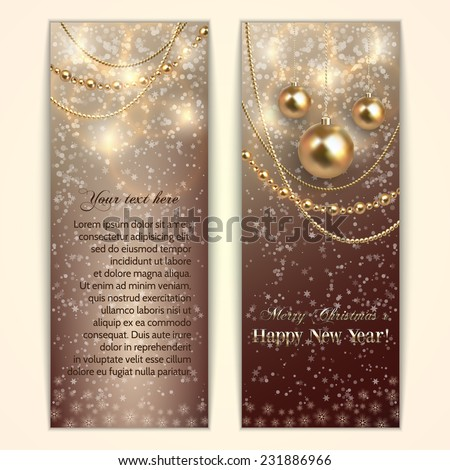 Vector abstract  Christmas and New Year Greeting or Invitation two side  Card - stock vector