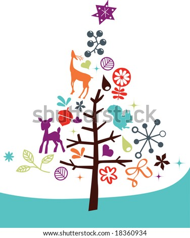 vector - abstract christmas tree with nice and colorful design element - stock vector