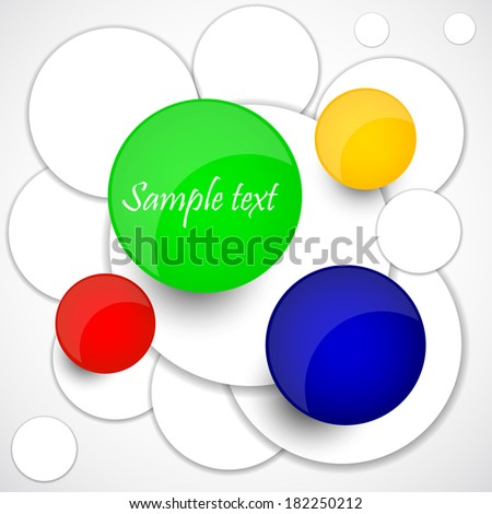 Vector abstract circles of white and colored paper. Vector  illustration  - stock vector