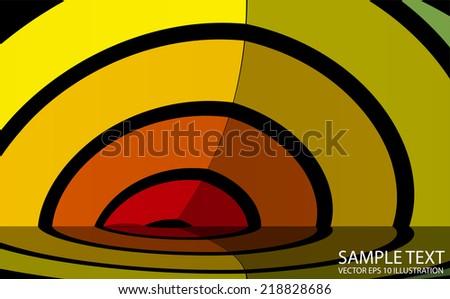 Vector abstract circular background illustration reflected - Vector stripe reflected background abstract template - stock vector