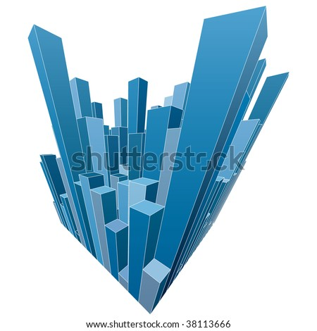 vector abstract city with blue skyscrapers - stock vector