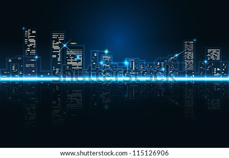 vector abstract cityscape skyscrapers with reflection , eps 10 file, gradient mesh and transparency used, raster version available