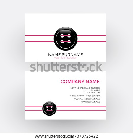 Vector abstract clothing button, concept of tailoring. Business card - stock vector