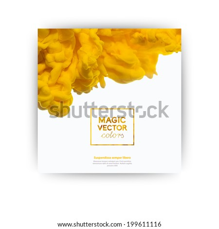 Vector abstract cloud. Ink swirling, cloud of ink isolated on white. Abstract banner paints. Holi. Orange juice. Holi. Juicy orange splash on white background. - stock vector