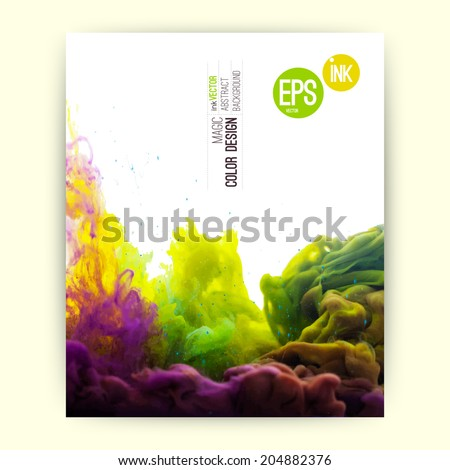 Vector abstract cloud. Ink swirling in water, cloud of ink in water isolated on white. Abstract banner paints. Holi. Liquid ink cloud. Vector abstract background for banner, card, poster or web design - stock vector
