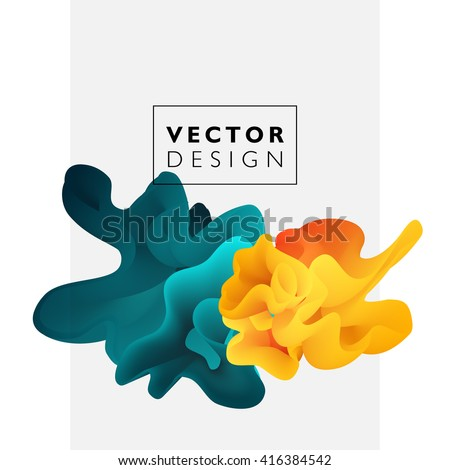 Vector abstract color cloud.  Liquid ink splash. Background for banner, card, poster, web design - stock vector