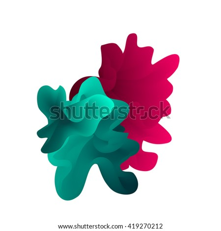 Vector abstract color cloud.  Liquid ink splash. Background for banner, card, poster, web design. Blue and pink wave shape - stock vector