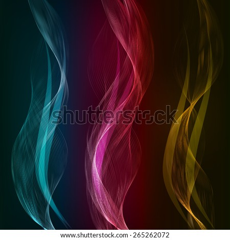 Vector Abstract color waves design element. Set banner - stock vector