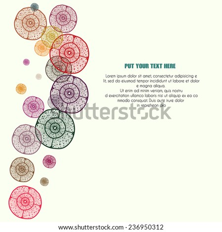 Vector abstract colorful background with circular elements, with sample text and space for your text. For cards, invitations,announcement, covers. - stock vector