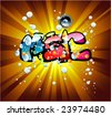 VECTOR Abstract Colorful bubbles and music text background - stock vector
