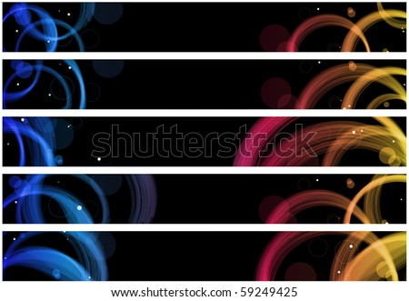 Vector - Abstract colorful circles web banners. Size 728x90 px - stock vector