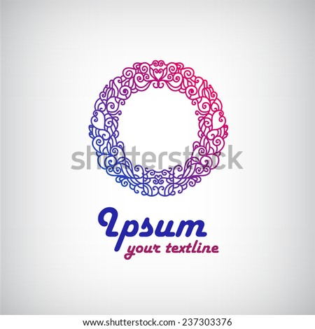 vector abstract colorful decorated pattern round icon, logo isolated. May use for business company identity, spa, etc. - stock vector