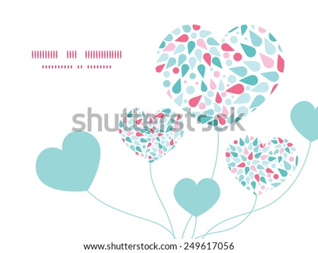 Vector abstract colorful drops heart symbol frame pattern invitation greeting card template