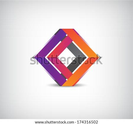 vector abstract colorful dual ribbon icon - stock vector