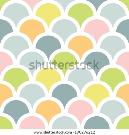 vector abstract colorful fishscale seamless pattern background - stock vector